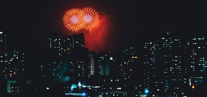 Big Distant Fireworks Explosions Sound Effect